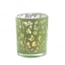 Teelichtglas Schmetterlinge und Blütenzweige in Hellgrün verspiegelt, 85 mm