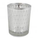 Teelichtglas Diamantendesign in Silber, verspiegelt, 68 mm