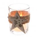 Teelichtglas Weihnachten mit Sisalband und Holzstern, 67 mm