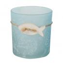 Teelichtglas, Windlicht mit Holz Fisch in Hellblau, satiniert, 80 mm
