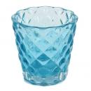 Teelichtglas mit Rautenmuster in Türkis, 72 mm