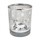 Teelichtglas Weihnachten, Winterwald in Silber verspiegelt, 73 mm