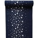 3 Meter Tischläufer Weihnachten, Sterne in Dunkelblau/Silber, 28 cm