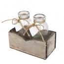 2 Flaschen Väschen im rustikalen Holzgestell mit Herzen, 12 cm