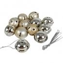 12 Weihnachtsglöckchen, Christbaumschmuck in Champagner matt/Silber glänzend, 40 mm