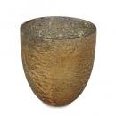 Glas Windlicht für Teelichter in Antik-Gold, 11 cm