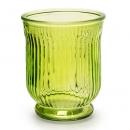 Glas Windlicht, Vase mit Streifen in Grün, 13,5 cm