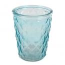 Glas Windlicht, Vase mit Rautenstruktur in Türkis, 12,5 cm