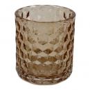 Glas Windlicht Karat in Taupe, 90 mm