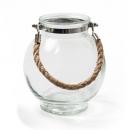 Glas Vase, Windlicht rund mit Sisaltau, klar, 17 cm