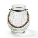Glas Vase, Windlicht rund mit Sisaltau und Punkten, 17 cm