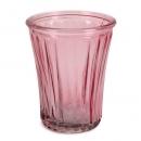 Glas Windlicht, Vase mit Streifen in Rosa, 12,5 cm