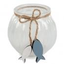 Glas Windlicht mit Holz Fischanhänger, in Weiß, 11 cm
