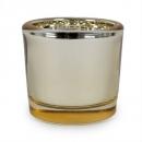 Zylinder Teelichtglas in Gold, verspiegelt, 65 mm