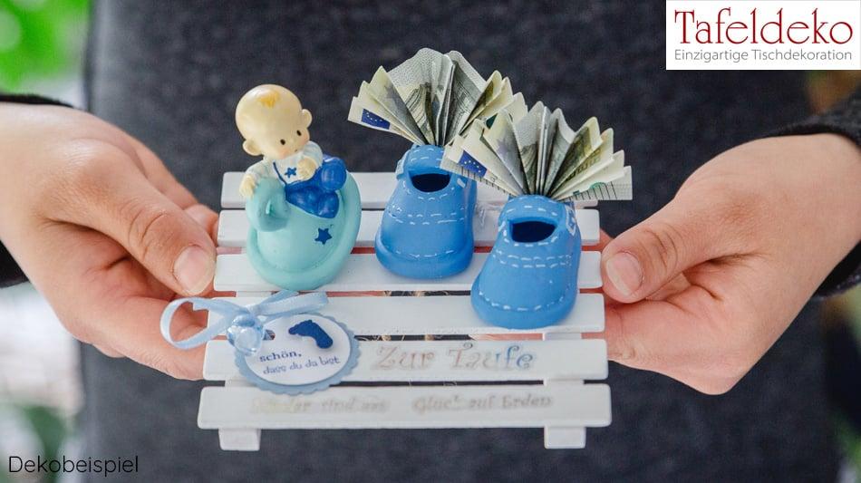 Geldgeschenk Taufe Junge Babyschuhe Set Tafeldekode