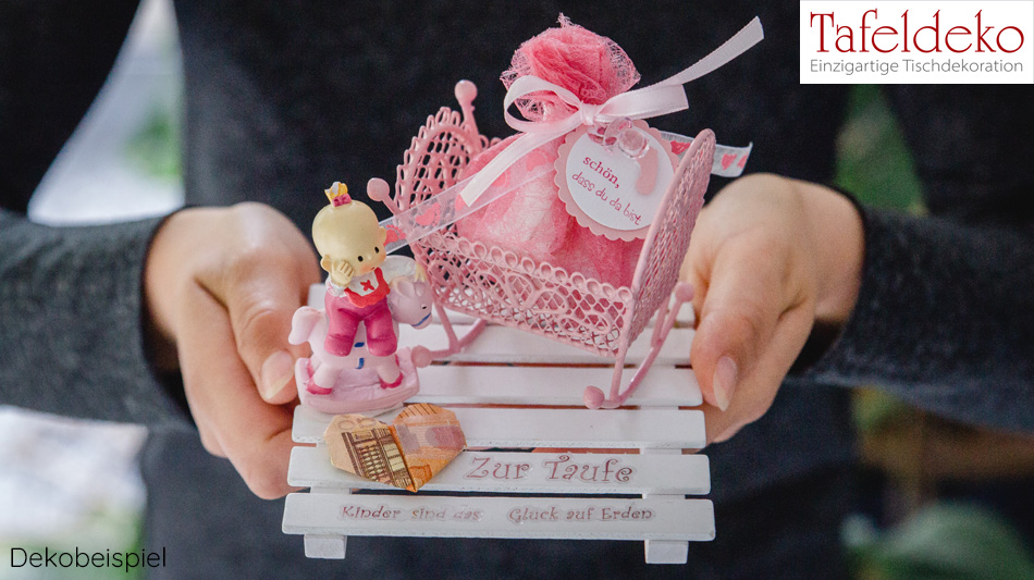 Geldgeschenk Taufe Babywiege Set Tafeldeko De