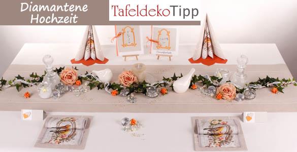 tafeldeko tipp diamantene hochzeit festliche dekoration mit diamanten zum 60 hochzeitsjubil um. Black Bedroom Furniture Sets. Home Design Ideas