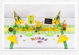 Einschulung Tischdeko in Grün-Gelb