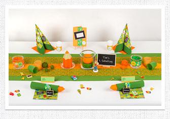 Einschulung Tischdeko in Orange-Grün