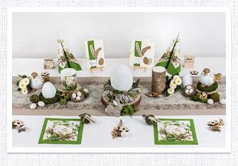 Frühling Tischdeko mit Naturdeko