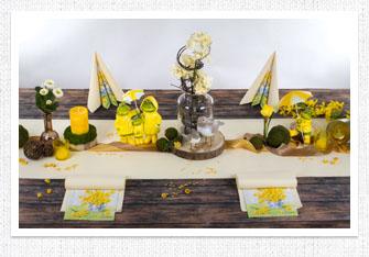Frühling Tischdeko Froschfamilie