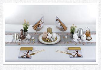 Frühling Tischdeko in Silber-Bronze