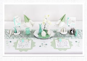 Frühling Tischdeko Harmonie in Mintgrün-Silber-Weiß
