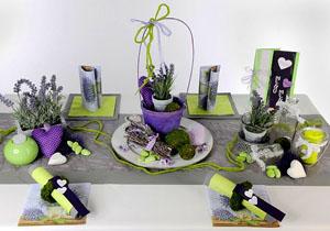Geburtstag Tischdeko in Lavendel