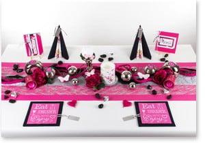 Geburtstag Tischdeko in Pink Schwarz