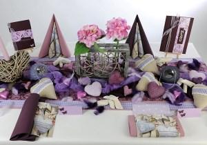 Geburtstag Tischdeko in Rosa Aubergine