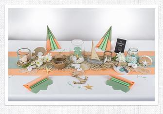 Geburtstag Tischdeko in Mint-Apricot