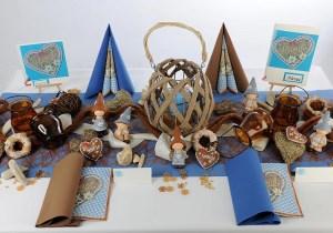Geburtstag Tischdeko in Braun-Blau