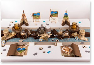 Geburtstag Tischdeko in Braun Blau