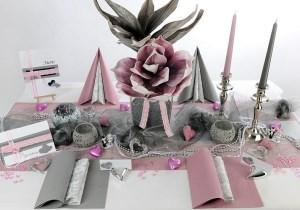 Silberne Hochzeit Tischdeko in Rosa-Silber