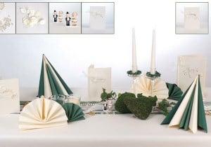 Goldene Hochzeit Tischdeko in Grüne Creme