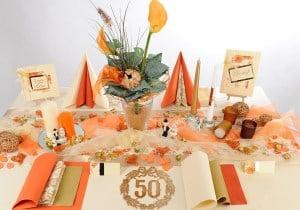 Goldene Hochzeit Tischdeko in Creme-Orange