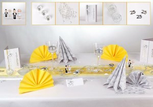 Silberne Hochzeit Tischdeko in Gelb Silber