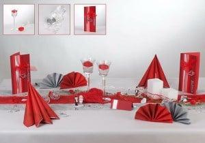 Silberne Hochzeit Tischdeko in Rot Silber