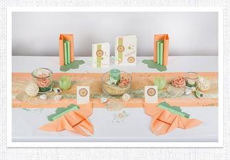 Goldene Hochzeit Tischdeko in Apricot-Mint