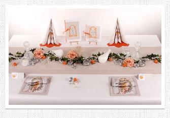 Diamantenen Hochzeit in Creme-Orange