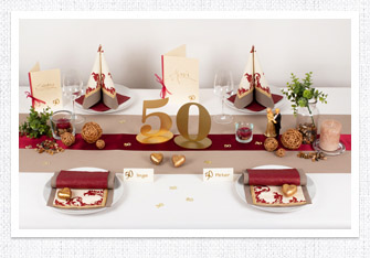 Goldene Hochzeit Tischdeko in Bordeaux