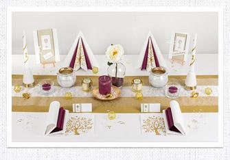 Goldene Hochzeit Tischdeko in Gold-Aubergine