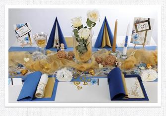 Goldene Hochzeit Tischdeko in Blau-Gold