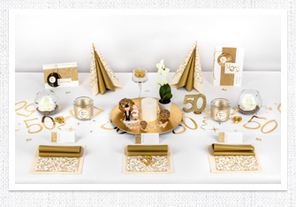 Goldene Hochzeit Tischdeko in Gold-Weiß