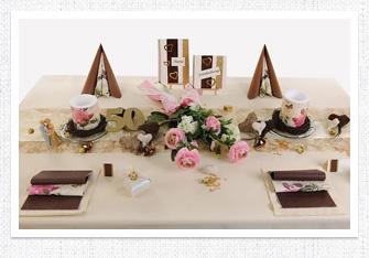 Goldene Hochzeit Tischdeko in Rosa-Braun