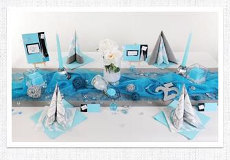 Silberne Hochzeit Tischdeko in Silber-Türkis