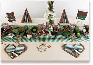 Tischdeko in Braun/grün