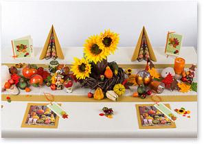 Tischdeko in Braun/Orange