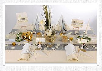 Tischdeko in Champagner