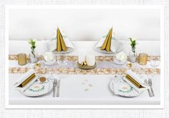 Tischdeko in Weiß-Gold